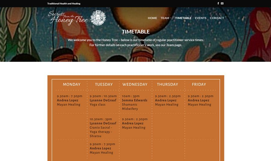 Secrets from the Honey Tree Timetable